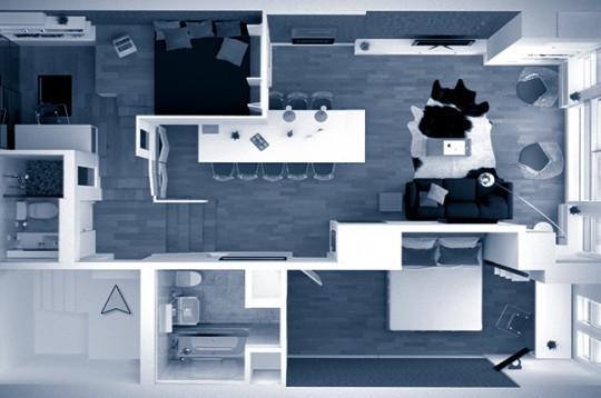 2 bedroom condo plan 3D